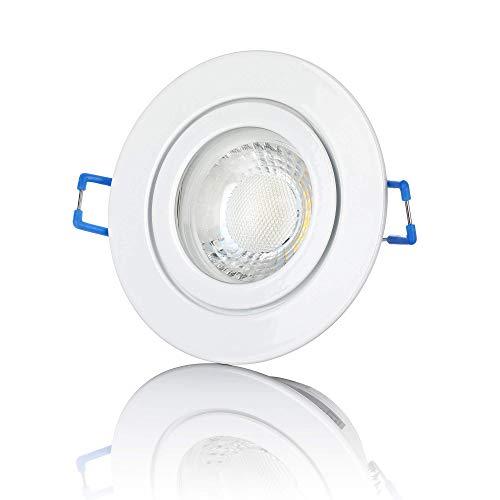 lambado® Premium LED Spot IP44 Dimmbar Weiß - Hell & Sparsam inkl. 230V 5W GU10 Strahler warmweiß - Moderne Beleuchtung durch zeitlose Bad-Einbaustrahler/Deckenstrahler für Außen