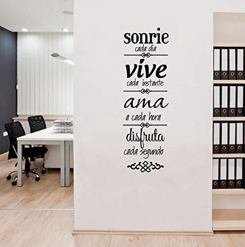 rylryl Reglas de la casa en español Etiqueta de la pared Decoración del hogar Sala de estar Versión en español NORMAS DE CASA Vinilos Decorativos Calcomanías de arte 57x17cm