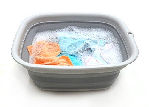 SAMMART 9,45L Collapsible Tub - Foldable Dish Tub - Portable Washing Basin - Space Saving Plastic Washtub (M. Grey, Mittel)