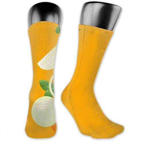 Leila Marcus Herren- und Damen-Socken sind bequem, leicht und schweißresistent. Herrensocken mit lustigen, frischen Zwiebeln auf der Gabel fliegenden Zwiebeln, mittelgroß und lang