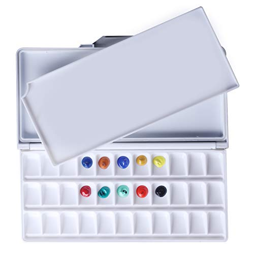 MEEDEN Airtight Leakproof Watercolor Palette Travel Paint Tray with A Large Mixing Area, 33 Wells Black Folding Peel-Off Palette for Watercolor, Gouache, Acrylic Paint