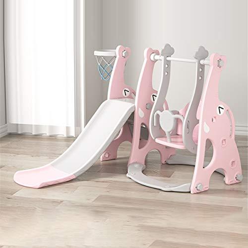 OMGPFR Diapositiva Independiente para niños, Azul Toboganes de Interior con Pendiente de Deslizamiento Larga y Columpio Fácil Montaje para Niños pequeños Al Aire Libre Forma de Elefante,Rosado