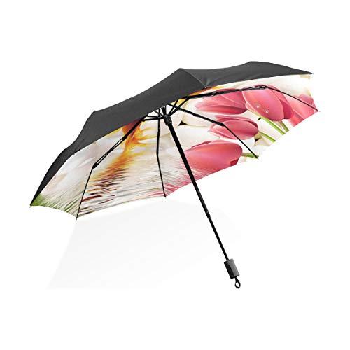 FANTAZIO Reizen Paraplu Tulp Bloemen Met Goudvis Zon/Regen paraplu