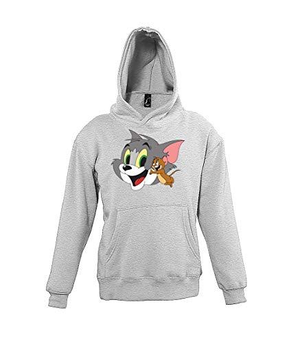 Youth Designz Kinder Hoodie Kapuzenpullover Modell Tom Jerry - Grau 118/128 (8 Jahre)