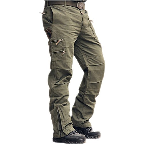 sunsnow Causal Cotton Camouflage Pants for Men (34, Army Green)