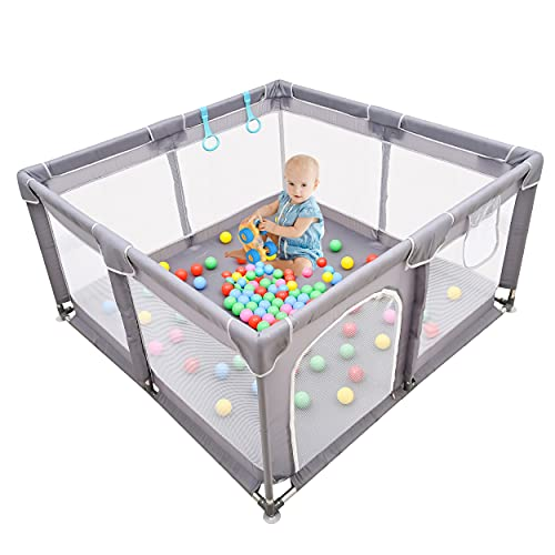 Baby Playpen , Large Baby Playard, Playpen for Babies with Gate Indoor & Outdoor Kids Activity Center , Sturdy Safety Play Yard with Soft Breathable Mesh