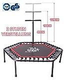 Best for Sports Fitness Trampolin mit Stange Minitrampolin Bungee-Seil-System 42 Stück, Ø 110 cm, bis 120 kg Benutzergewicht TÜV geprüft