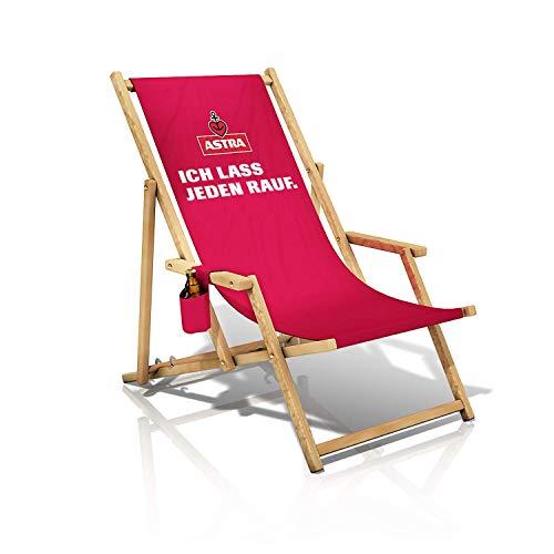 Astra Liegestuhl mit Armlehnen & Flaschenhalterung, Gartenstuhl, klappbare Sonnenliege, Bier für die Entspannung Ich Lass jeden rauf.