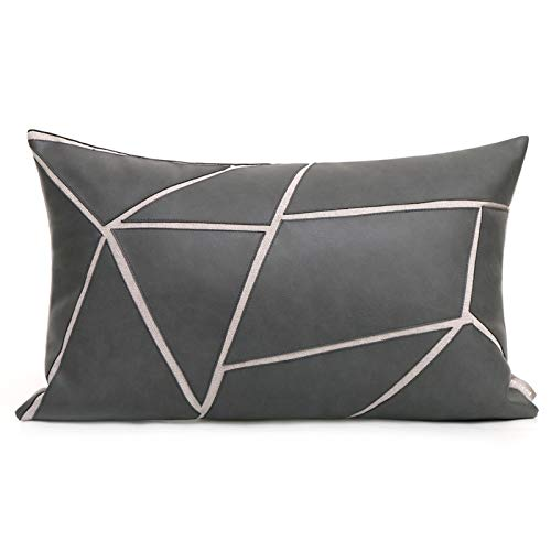 Cushion Covers Leather Geometric Splice Bedroom Sofa Decoration Rectangular Pillowcase Gray 50X30Cm Without Core