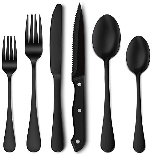 24-Piece Matte Black Silverware Set with Steak Knives, Stainless Steel Flatware Cutlery Set, Service for 4, Hand Wash Recommended