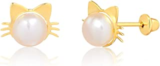 14k Hypoallergenic Yellow Gold Cat Kitty Freshwater Pink Pearl Push Backs Stud Earrings for Girls, Children and Infants (6 mm)