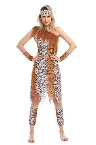 Disfraz primitivo Mujer de Las cavernas de Leopardo para Fiesta Carnaval (CAVERNCOLA(PZ8545), L)