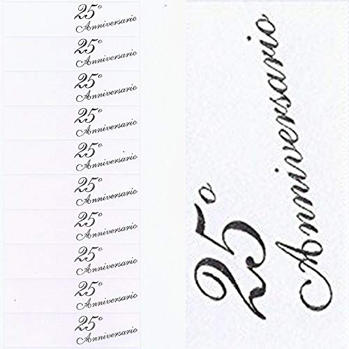 TrAdE Shop Traesio 100 BIGLIETTINI BOMBONIERE 25 Anniversario Matrimonio Nozze Argento PRETAGLIATI