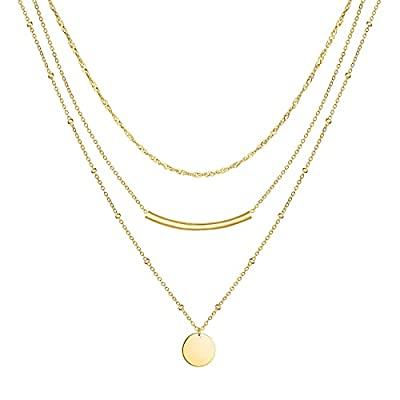 Layered Choker Necklaces for Women, 14K Gold Pl...