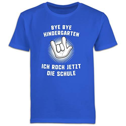 Einschulung und Schulanfang Geschenk - Bye Bye Kindergarten Ich Rock jetzt die Schule Hand - 140 (9/11 Jahre) - Royalblau - Einschulung deko - F130K Schulanfang - Schulanfang Jungen T-Shirt Kinder