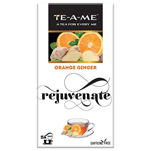 TE-A-ME Orange Ginger Herbal Infusion Tea, Pack of 25 Tea Bags with 2 Flavored Bags (Free Sample)