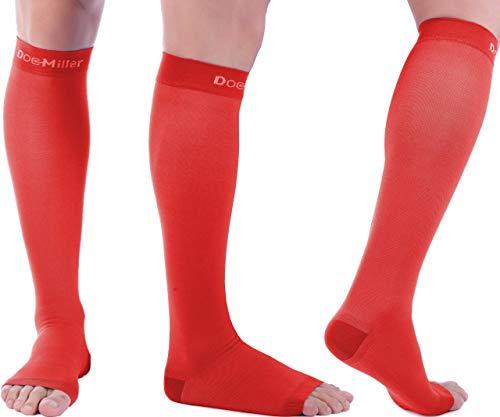 Doc Miller Open Toe Socks – 1 Pair 15-20mmHg Moderate Compression Socks Women & Men Support Stockings Restless Legs Air Travel Shin Splints Varicose Veins Leggings (Red, X-L)