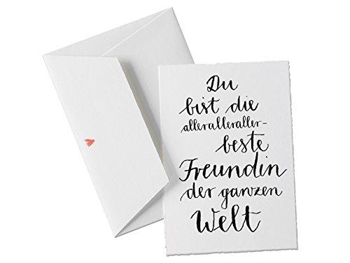 Spruchkarte - Du bist die allerbeste FREUNDIN der Welt, Glückwunschkarte für beste Freundinnen, Valentinskarte, Dankeschön Grußkarte mit Herz-Umschlag zum Geburtstag, Valentinstagsgeschenk klassisch
