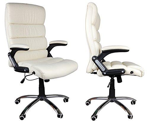 Giosedio BSD poltrona elegante per ufficio, Sedile in pelle confortevole, Sedia reclinabile, Reclinabile, Sedia Scrivania, Poltrona ufficio similpelle, altezza regolabile, girevole (ecru)