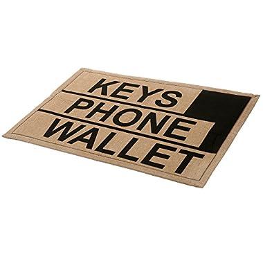 2 x 3 ft Brown Polyester KEYS PHONE WALLET Funny Reminder Doormat / Novelty Non-Slip Floor Mat - MyGift