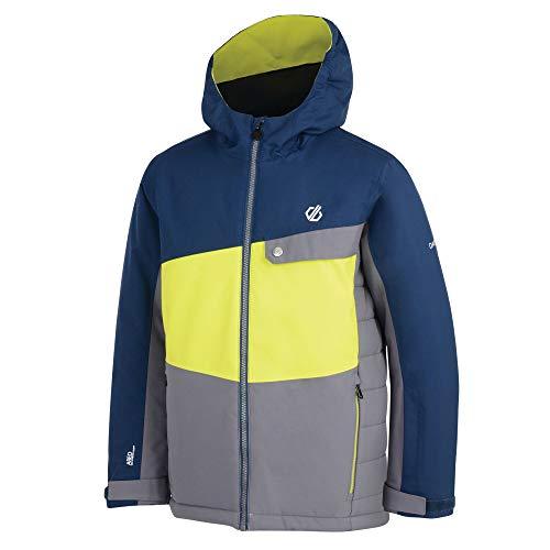 Dare 2b Kinder Wrest Waterproof Breathable High Loft Insulated Ski Snowboard Jacket with Snowskirt and Reflective Detail Jacke, Aluminium/Citron Lime, 27 EU-28 EU