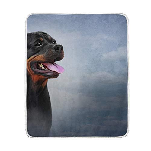 Bali Vintage Rottweiler Hundedecke, weich, warm, für Bett, Sofa, Couch, Reisen, 127 x 153 cm