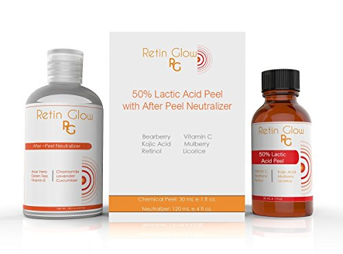 Lactic Acid 50% Gel Peel Including After Peel Neutralizer Facial Peel Contains Retinol Vitamin C Kojic Acid Licorice Bearberry Tea Mulberry. Perfect Acne Treatment Fade Acne Scars Diminish Wrinkles