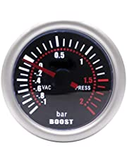 Blanco 52mm Luz Universal 12V LED de humo Len -1~0 ~ 2 bar Turbo Boost Gauge Medidor de coches