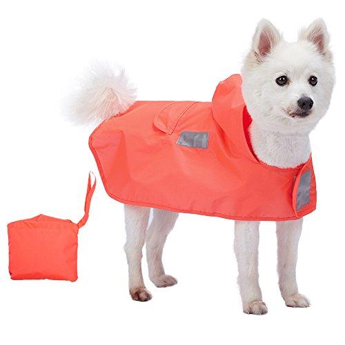 Blueberry Pet 30cm Leichter Verstaubarer Kapuzen-Hunde-Regenmantel Poncho mit 3M Reflektor-Sicherheitsstreifen in Kräftig Orange, Einzelpackung Outdoor Regenjacke für Hunde