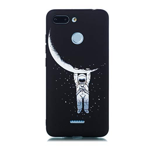 ChoosEU Negro para Funda Xiaomi Redmi 6 / Redmi 6A Silicona Dibujos Creativa Carcasas para Chicas Mujer Hombres TPU Case Antigolpes Bumper Cover Caso Protección - Luna Colgante
