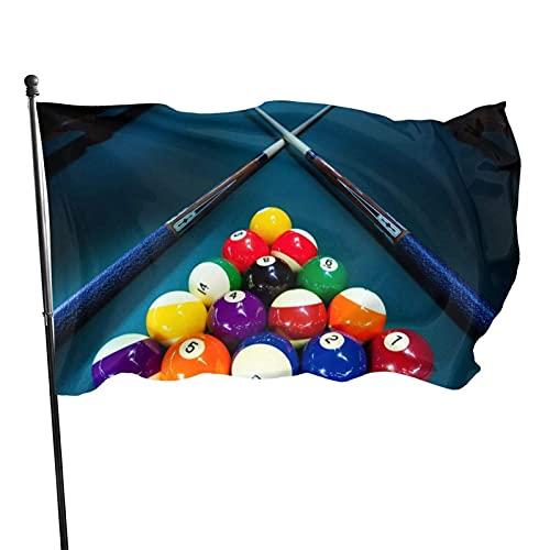 GOSMAO Bandera de jardín Billar Snooker Color Vivo y Resistente a la decoloración UV Bandera de Patio de Doble Costura Bandera de Temporada Bandera de Pared 3x5 pies