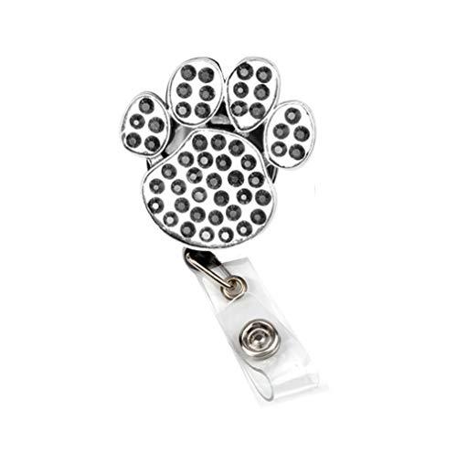 AYHU Cute Pet Dog/Cat Paw Badge Reel Office Retractable Nurse Name ID Badge Holder with 360° Swivel Alligator Swivel Clip (Black)
