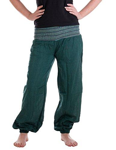 Vishes - Alternative Bekleidung - Sommer Chino Haremshose aus Baumwolle mit super elastischem Bund - handgewebt (Einheitsgröße 32 bis 42, dunkelgrün)