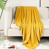 Jane&Hong Microfiber Throw Blanket, Throw Blanket Lightweight Throw Size, Reversible Throw Blanket Yellow/Grey, 43 by 60 Inch