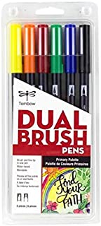 Tombow 56214 Dual Brush Pen Art Markers, Primary, 6-Pack. Blendable, Brush and Fine Tip Markers