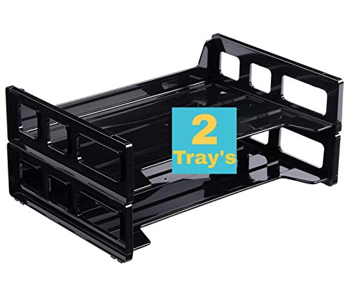 """1InTheOffice Desk Tray, Side Load Letter Tray""""2 Pack"""""""
