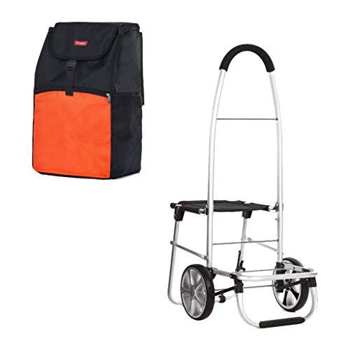 Einkaufswagen Einkaufskorb Folding Hand Kinderwagen Alter Mann mit Hocker Trolley Gepäckwagen Geschenk (Color : ORANGE, Size : 100 * 48 * 55CM)