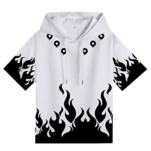 My Sky UzumakiShort Sleeve Hooded T-Shirt Anime Cosplay Natsu Pullover Hoodies (White and Black,...