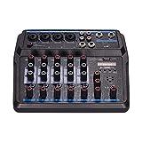 JKDZYD Mini Mezclador Musical U6 6 Canales Mezcladores de Audio BT USB Consola de Mezcla con Tarjeta de Sonido incorporada 48V Fantasma