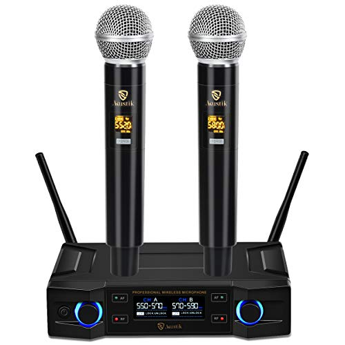 AKUSTIK 100 Channel Dual Wireless Microphone System, UHF Cordless Handheld Mics Set with LCD Display, 200Ft Range, Professional Karaoke Machine Microphone for Party, Wedding, Church, Meeting, Speech