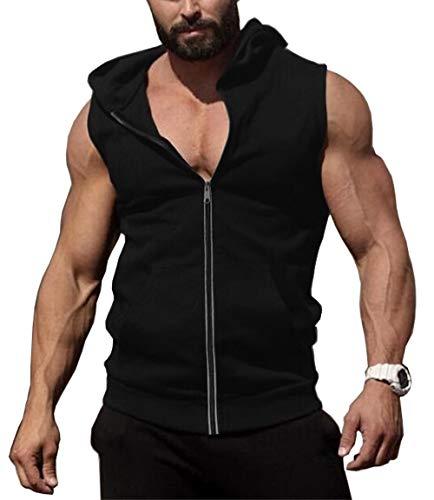COOFANDY Men's Zip Up Workout Tank Tops Hooded Bodybuilding...