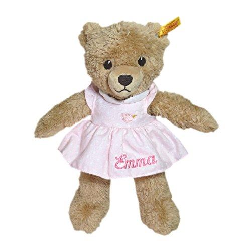 Steiff Schlaf gut Bär mit Kleidchen mit Ihrem Wunschnamen bestickt 25 cm rosa 239526mn