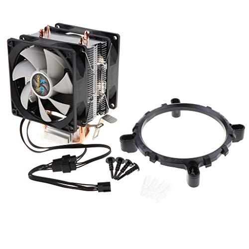 non-brand Fenteer 3 Pin Liquid CPU Cooler Cooling Fan Radiador Silencioso CPU Silent Cooler 90mm Radiador - Luz Magica