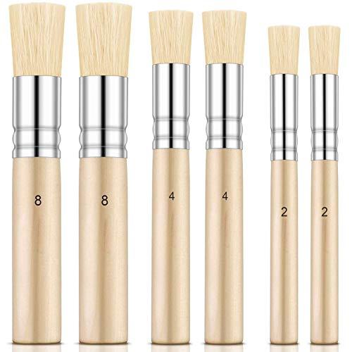Opopark 6 Piezas Cepillo de Plantilla de Madera, Pinceles de Cerdas Naturales Perfectos para Pintura Acrílica, Pintura al óleo, Pintura de Acuarela