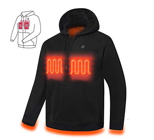 Mountain Leads Heated Hoodie Sweatshirt Pullover Fleece Zip-up Loose-Fit Warm Jacket with Battery (Unisex) (Black, Medium)