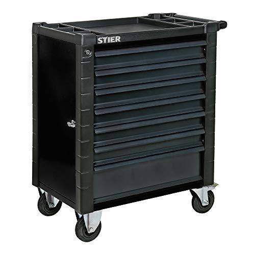 STIER Werkstattwagen, mit Schutzvorrichtung und praktischer Seitentür, 950x740x500 mm in Schwarz