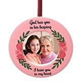 BANBERRY DESIGNS Memorial Christmas Ornament - God Has You in His Keeping I Have You in My Heart Remembrance Saying - Pink Roses Floral and Vine Design - Bereavement Picture Ornament 3.5 Inches