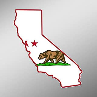 CMI PD249 2-Pack California State Flag Outline Decal Sticker | 5.5-Inches | Premium Quality Vinyl