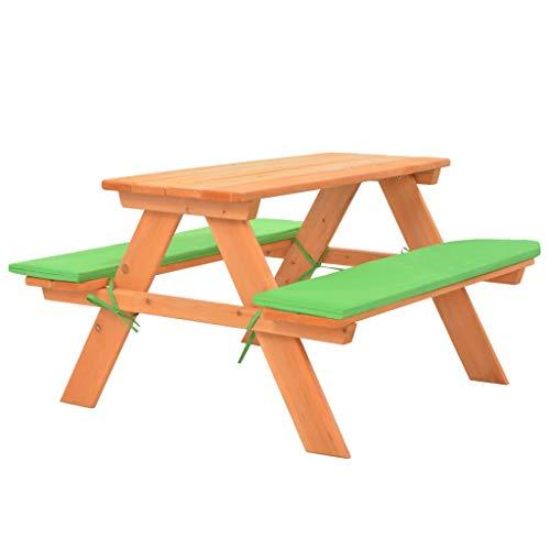 Tidyard Kindersitzgruppe Picknicktisch Gartentisch Sitzgarnitur Holz Kindertisch mit Bänken 89x79x50 cm Massivholz Tanne
