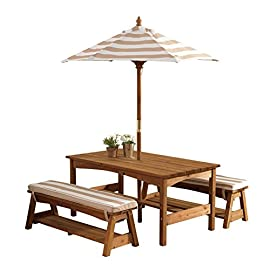 KidKraft 00 Outdoor Table and Bench Set with Cushions and Umbrella, Espresso with Oatmeal and White Striped Fabric 1 Matching canopy andbench cushions Convenient storage below each bench. Table- 42 L x 22.6 W x 19 H inches. Bench- 35.8 x 11.6 x 12.88 inches. Umbrella- 60.6 inch H. Umbrella measures 60 inch in height and 45 inch diameter (when opened) Tall umbrella helps shield children from UV lights